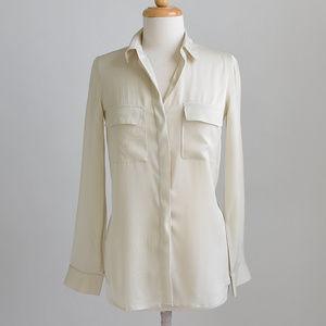 Theory Ivory Silk Long Sleeve Blouse